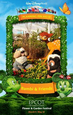 Walt Disney World Planning Pins: Bambi & Friends at Epcot International Flower and Garden Festival #EpcotInSpring