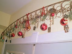 My bed spring arch decorated for Christmas