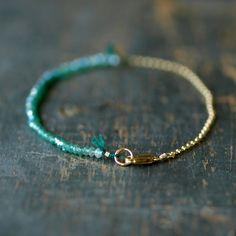 Green Onyx Ombre Bracelet Gemstone Spectrum Gold Chain Delicate Handmade Jewelry. $79.00, via Etsy.