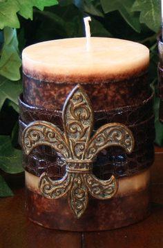 New Orleans Saints Fleur De Lis Candle