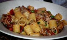 Rigatoni with Sausage, Peas, and Tarragon