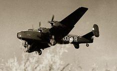 Halifax bomber OO-R of 1663 HCU from RAF Rufforth in 1944.