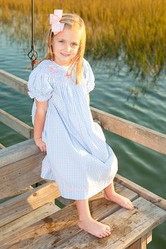 Pink Marlin Bishop Gown, beautiful blue gingham fabric.