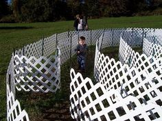 labyrinth of white plastic forms.