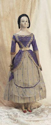 Paper mache Lady Doll with Flirty Eyes  Circa 1840