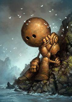 Awesome Halloween Horror Art from MattDixon - News - GeekTyrant mattdixon, robots, matt dixon, iron man, robot art, portrait, artwork, bowling ball, science fiction art