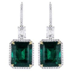 Striking 18.83ctw Colombian Emerald Earrings