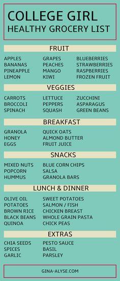 Healthy College Girl Grocery List | Fruit + Veggies + Breakfast + Lunch + Dinner ideas!