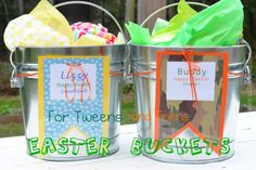 Easter Baskets, Easter Buckets for teens and tweens. Simple and cute Easter gifts for big kids!