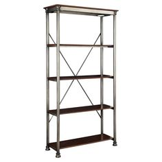 4-shelf metal etagere with a birch-finished top and x-crossed back.  Product: EtagereConstruction Material: Met...