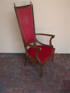 Stunning Vintage High Back Throne Arm Chair with Detailed Wood frame - Shown with original Shabby Chic Red Fabric - can be ANY FABRIC. $750.00, via Etsy.