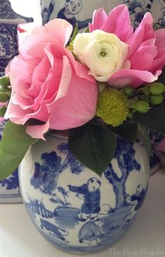 Chinoiserie Chic: The Ginger Jar pink flowers, challenges, pink pagoda, ginger jars, gingers, chinoiserie chic, blues, arrang, pink peonies