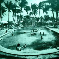 Pool house decor   vintage Florida motel pool