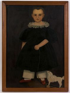 """American School(19th c.), oil on canvas folk portrait of a young child with pull toy, 27"""" x 26""""."""