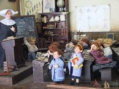 Miniature schoolroom - nun teaches schoolchildren - vintage toy