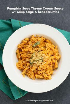 Vegan Pumpkin Sage Pasta with Pumpkin Cream Sauce and Crispy Sage.