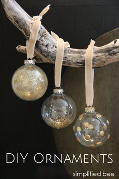 DIY gold+glitter glass ornaments