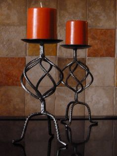 Thrift store rebar candle holders - perfect for Halloween!