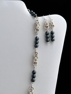 Silver and Hematite Byzantine Chainmaille Necklace and Earring Set