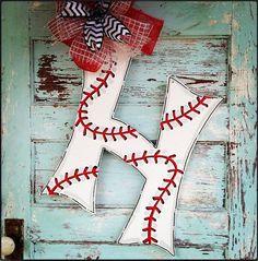 24 inch Baseball Initial door hanger baseball by BluePickleDesigns, $45.00