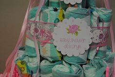 Torta de pañales para un baby shower http://antonelladipietro.com.ar/blog/babyshower-rosa-delicado/