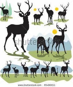 Set Vector Deer Silhouettes - 85490011 : Shutterstock