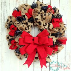 Burlap and Polka Dots Wreath by aDOORableDecoWreaths on Etsy, $84.99
