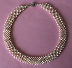 16517  7Row White Fresh water Pearl Choker Necklace by Pearlland88, $29.00