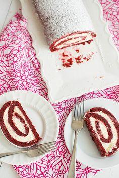Red Velvet Roll Cake | browneyedbaker.com #recipe #ValentinesDay roll cakes, eye baker, velvet roll, cake recipes, dessert