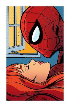 SPIDER KISS SpiderMan Comic Book Pop Art Print 11x17 by RobOsborne