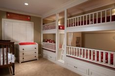 This is my new favorite.  Stairs rather than ladder (and only one set for both tops).  I'm sure the top bunks are difficult to make-up.  I don't know how I would fit up there.   Someone suggested upholstering the mattresses and use sleeping bags.  I love that each child has their own tiny bookcase in their bunk.  The changing table and crib make this such an awesome nursery.  It makes me think of Peter Pan.  Remember the huge children's room?