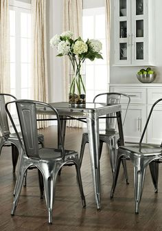 Galvanized Amelia Five-Piece Café Dining Set