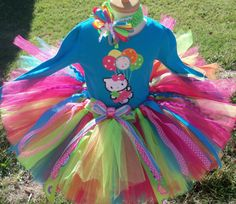 Hello Kitty Turquoise  Birthday Balloon Tutu Outfit Set ~ love!