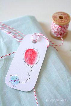 """cute tag made with """"finger"""" stamps!1"""