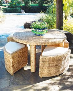 Woven Table and Benches