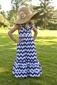 chevron patterns, summer kids, maxi dresses, little girls, princess, blue, girls wardrobe, little girl outfits, new girl