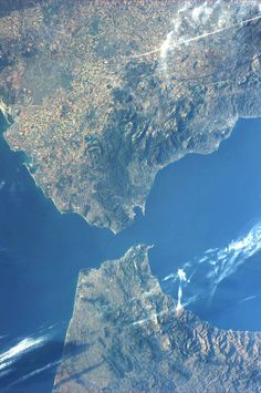 The Strait of Gibraltar, pinned FROM SPACE by astronaut @Karen Jacot Nyberg !