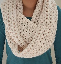 For my grandma to make! Cozy Infinity Scarf ~ link to crochet pattern ~ Materials:   2 skeins of bulky yarn (pictured: Lion Brand Woolease Thick and Quick) ~ Crochet Hook: P ~ Chain 100 join together with sl st  Row 1: ch 2 (this counts as your first dc), dc in each sc and connect with sl st.  Rows 2-8: Repeat.  Weave in your ends and wrapped twice around your neck...So Cozy!