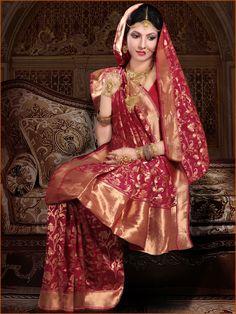 Dark #Pink Pure #Banarasi #Silk #Saree with #Blouse @ $214.42 | Shop Here: http://www.utsavfashion.com/store/sarees-large.aspx?icode=slsnn24a