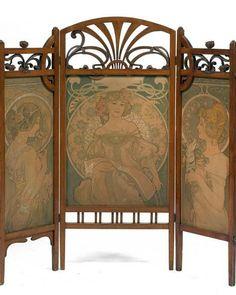 Art Nouveau Screen Alphonse Mucha