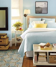 love the serene colors (soft blue with a soft yellow accent)