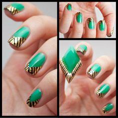 Gold Leaf Chevron Nails // Lacquers & Laces