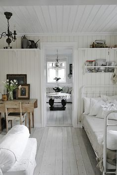 Scandinavian home with lots of light and grey washed floors