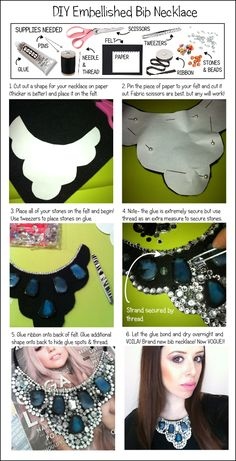 DIY, DIY Fashion, DIY Necklace, DIY bib, DIY bib necklace, DIY embellished necklace, DIY embellishment, DIY jewelry, DIY blog