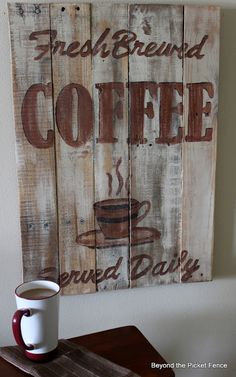 picket fences, pallet boards, craft, pallet projects, coffe sign, kitchen signs, coffee signs, pallets, coffee stations