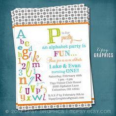 Alphabet Birthday Party ABC Photo Card Invitation.  Any colors and text by Tipsy Graphics. $16.00, via Etsy.