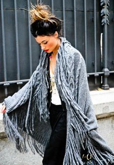 sweaters, girl hair, fashion, style, cape, black hair, red lips, hobo chic, fringes