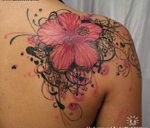 cover up, color, swirl, background, black flowers, a tattoo, flower tattoos, shoulder tattoos, ink