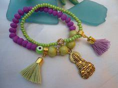 SALE PURPLE BUDDHA Bracelet Yoga Bracelet Meditation by Nezihe1, $16.00