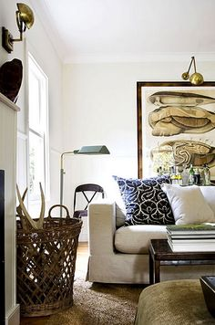 Earthy and relaxed.  Lighting + texture